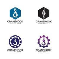 Plantilla de diseño de ilustración de vector de icono de logotipo de gancho de grúa