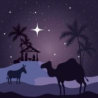 Natividad, María, José, bebé, burro y camello en el diseño de vectores de fondo púrpura
