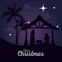 Feliz Navidad y Natividad, María, José y el bebé en la cabaña en el diseño de vectores de fondo púrpura