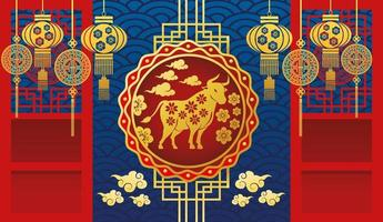chinese new year card with golden ox and lamps hanging vector