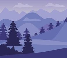 purple landscape with silhouettes, mountains and pine trees vector