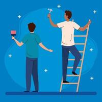 men with construction hammer, paint brush and ladder vector design