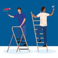 Hombres con martillo de construcción, rollo de pintura y diseño de vector de escalera