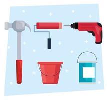 martillo de construcción, taladro, rodillo de pintura y diseño vectorial de cubo vector