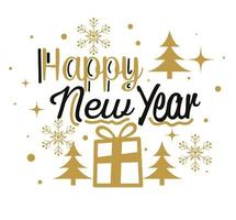 Happy new year with gift and pine trees vector design