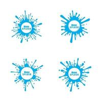 water splash blue color circle template on black  background vector
