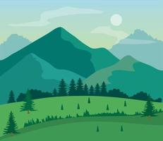 landscape nature with grass field, pine trees and mountains vector