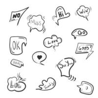 Hand drawn comic speech bubbles with popular message words vector collection
