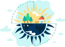This is the concept of the winter solstice and this is a flat illustration with a house day and night against the backdrop of the sun vector