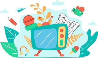 Esta es una ilustración plana con una cámara de video, televisión, micrófonos, periódico, lápiz y eruditos. vector