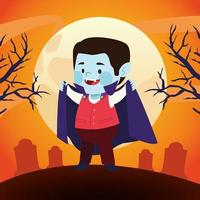 cute little boy dressed as a vampire character in cemetery vector