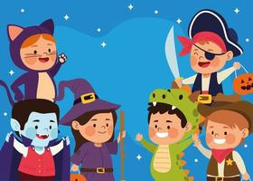 cute little kids dressed as a differents characters at night scene vector