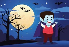 lindo niño vestido como un personaje vampiro vector