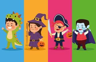 cute little kids dressed as a differents characters vector