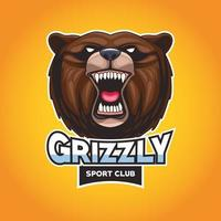 grizzly bear animal wild head character with lettering vector