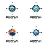 Compass with mountain for logo design illustrator vector