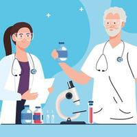 Medical vaccine research. Couple of doctors, professionals in scientific virus prevention study vector