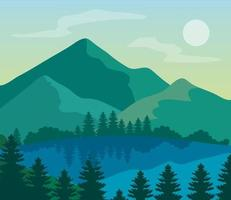 landscape nature and lake, pine trees with mountains vector