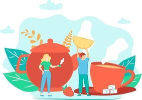 Este es el concepto de beber té y una ilustración plana con tetera, taza, azúcar, fresa y limón. vector