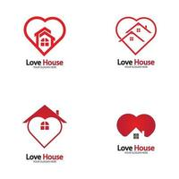 Love Home Logo Heart and House IcoN vector