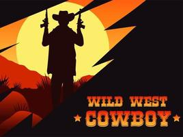 wild west cowboy lettering poster with cowboy and guns vector