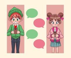 Pareja de jóvenes adolescentes charlando con personajes de anime de teléfonos inteligentes vector