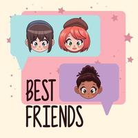 young interracial teenagers girls in speech bubbles characters vector