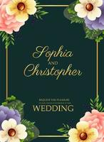 wedding invitation card with golden square frame and flowers vector