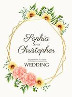 wedding invitation card with flowers pink and golden frame vector