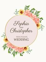 wedding invitation card with flowers pink in golden circular frame vector