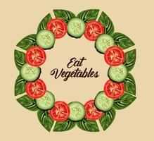 eat vegetables lettering poster with tomatoes and cucumbers slices around vector