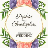 wedding invitation card with flowers pink and purple vector