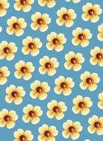 cute yellow flowers pattern background vector