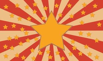 Fondo retro rojo y beige con estrellas amarillas vector