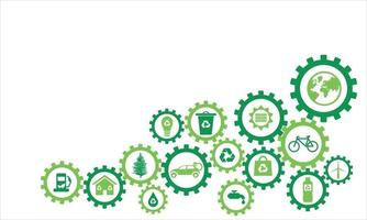 Infography sprocket ecological icons vector