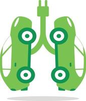 electric cars that simulate healthy green lungs vector