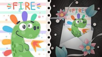 Rainbow dino idea for greeting card vector
