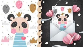 Live cartoon character panda idea for greeting card vector