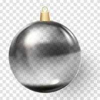 Bola de Navidad negra bola de cristal de Navidad sobre fondo blanco. vector
