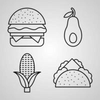 Set of Food Icons Vector Illustration Isolated on White Background