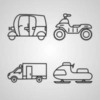 conjunto de iconos de transporte ilustración vectorial aislado sobre fondo blanco vector