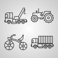Transportation Line Icon Set Collection of Vector Symbol in Trendy Outline Style