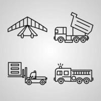 Conjunto de iconos de línea de transporte aislado en transporte de símbolos de contorno blanco vector