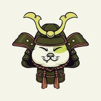 Samurai cute funny cat vector