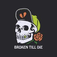 Skull with rose and snapback vector