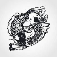 Yin yang koi fish vector
