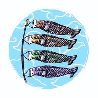 Japanese koinobori handdrawn illustration vector