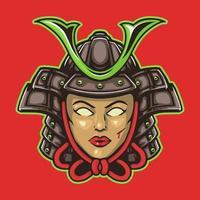 Woman samurai hand drawn illustration vector