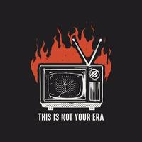 Old television burning vector