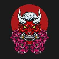 Handdrawn japanese demon vector